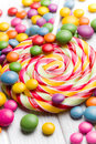 Colored candy and lollipop Royalty Free Stock Photos