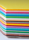 Colored cardboard stack Royalty Free Stock Images