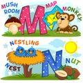 English alphabet M N