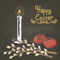 Colored chalk drawn illustration for Easter with eggs, willow branch, candle and golden text. Card design. Happy Easter theme.