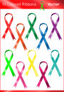 Colored charity ribbons a set of ten Royalty Free Stock Images