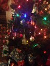 Colored christmas decorations country style with everything my son made through the years up till age Royalty Free Stock Image