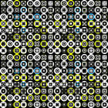 Colored circles and squares on a black background seamless pattern vector illustration Royalty Free Stock Photo