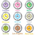 Colored clocks with timezone Stock Photos