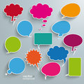 Colored communication bubbles infographic design with on the grey background eps file Stock Photos