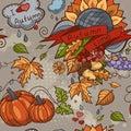 Colored contour seamless texture autumn theme