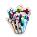 Colored crayons bunch on white background Royalty Free Stock Photography