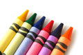 Colored crayons line of on a white background Stock Image
