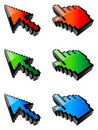 Colored cursors. Stock Photo