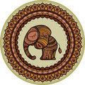 Colored cute elephant illistration in frame mandala. Indian theme with ornaments.