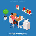 Colored 3d isometric office workplace vector concept illustration. Work table composition plus collection of isometric