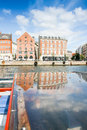 Colored Danish Homes with reflection Royalty Free Stock Photo