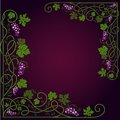Colored decorative frame with a vine on a dark violet background Stock Image