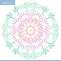 Colored decorative Mandala. Drawing lines. Flower motifs