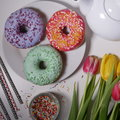 Colored donut with sprinkles. Royalty Free Stock Photo