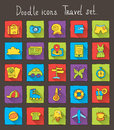 Colored doodle icons with shadow. Travel set