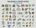 Colored Doodle Infographic Business Icons Set
