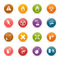 Colored dots - Warning icons Royalty Free Stock Photography