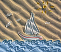 Colored drawing of sailboat on sand Royalty Free Stock Photos