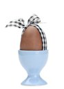 Colored easter egg with checked ribbon in egg cup Royalty Free Stock Photography