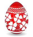 Colored easter egg happy easter painted in red and white colours hand made for congratulations with Stock Photos