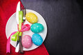 Colored Easter eggs on a black background Royalty Free Stock Photo