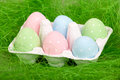 Colored easter eggs in cardboard Stock Photography