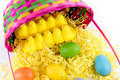 Colored easter eggs chicks and basket pastel yellow marshmallow pink yellow green Stock Photo