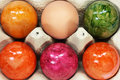Colored easter eggs close up Royalty Free Stock Images