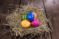 Colored easter eggs wooden background Stock Photography