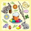 Colored Easter set with rabbit, chicken, Easter cake, flowers, willow and eggs