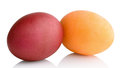 Colored eggs easter on white background Stock Photos