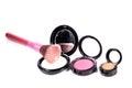 Colored face powder kits beautiful shot of on white background Royalty Free Stock Image