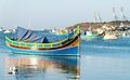 Colored fishing boats malta in marsaxlokk harbor Royalty Free Stock Photography