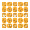 Colored flat icons of emoticons. Smile with a beard, different emotions, moods.