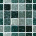 Colored floor marble plastic stony mosaic pattern seamless background with white grout _ dark green colors