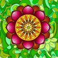 Colored floral design element in doodle line style. Decorative composition with flowers