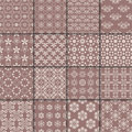 Colored flower seamless background. Brown ornamental collection