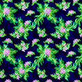 Colored flowers on a dark background. Seamless vector pattern. Royalty Free Stock Photo