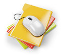 Colored folders and computer mouse on white background d rendered image Royalty Free Stock Photography