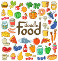 Colored food doodle set of various products fruits vegetables and much more Stock Photos