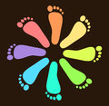Colored Footprint Design Stock Photo