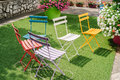 Colored garden chairs Royalty Free Stock Photo