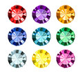 Colored gems on white background Stock Photo