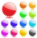 Star burst badge vector flash starburst sticker price glossy icon set sale tag blank design label element button shape empty sign Royalty Free Stock Photo