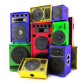 Colored group of speakers loud or abused concept traditional color also available Stock Images