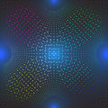 Colored halftone dots on blue neon background. Royalty Free Stock Photo