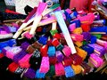 Colored hand fans photo of sold by street vendors in quiapo manila philippines in asia Royalty Free Stock Photography