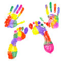Colored handprint and colored footprint Royalty Free Stock Photography