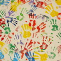 Colored handprints Stock Photos